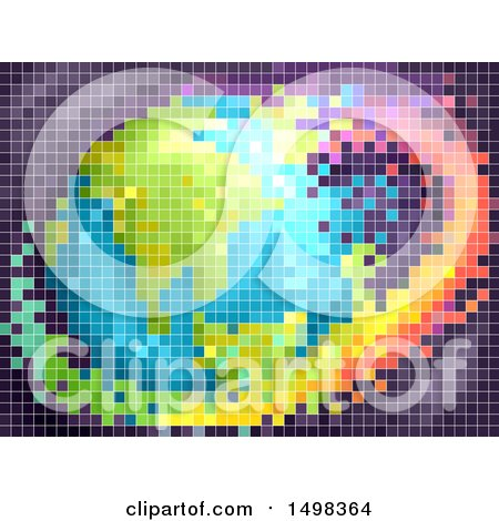 Clipart of a Pixelated Colorful Earth - Royalty Free Vector Illustration by BNP Design Studio