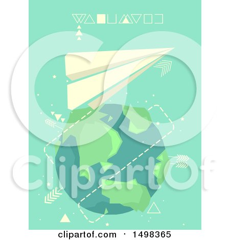 Clipart of a Paper Plane Flying Around Planet Earth - Royalty Free Vector Illustration by BNP Design Studio