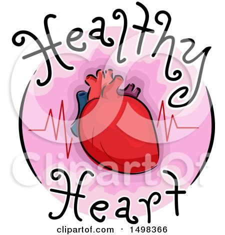 Clipart of a Round Icon with a Heart and Pulse - Royalty Free Vector Illustration by BNP Design Studio