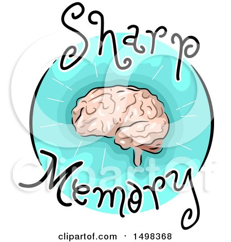 Clipart of a Brain on a Sharm Memory Icon - Royalty Free Vector Illustration by BNP Design Studio
