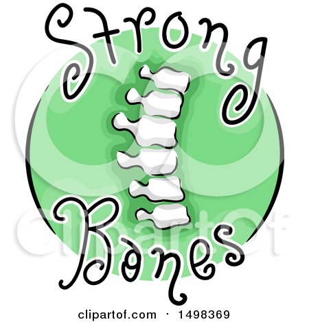 Clipart of a Spine on a Strong Bones Icon - Royalty Free Vector Illustration by BNP Design Studio