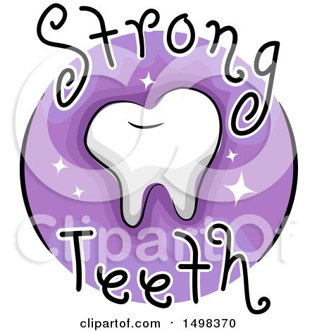 Clipart of a Tooth on a Strong Teeth Icon - Royalty Free Vector Illustration by BNP Design Studio