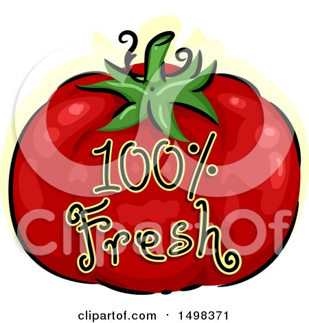 Clipart of a Tomato with Fresh Text - Royalty Free Vector Illustration by BNP Design Studio