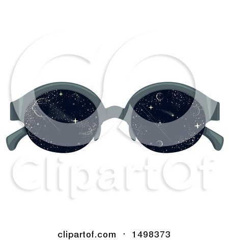 Clipart of a Pair of Glasses with Outer Space on the Lenses - Royalty Free Vector Illustration by BNP Design Studio