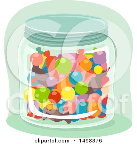 Clipart of a Glass Jar Full of Candy - Royalty Free Vector Illustration by BNP Design Studio