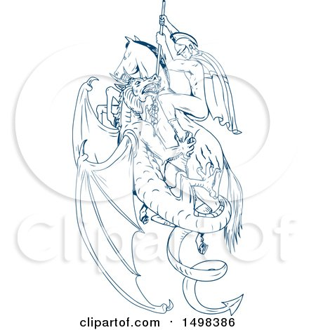 Clipart of a Sketched Man, St George, Slaying a Dragon - Royalty Free Vector Illustration by patrimonio