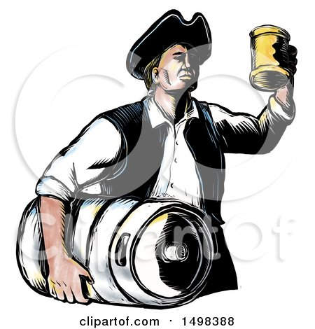 Clipart of a Vintage American Patriot Holding up a Beer Mug and Carrying a Keg, in Sketch Style, on a White Background - Royalty Free Illustration by patrimonio
