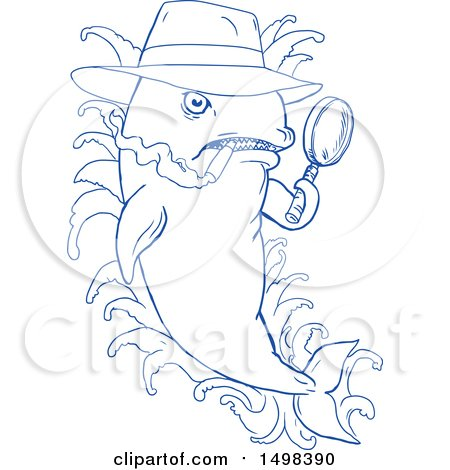 Clipart of a Blue Sketched Detective Orca Killer Whale Holding a Magnifying Glass - Royalty Free Vector Illustration by patrimonio