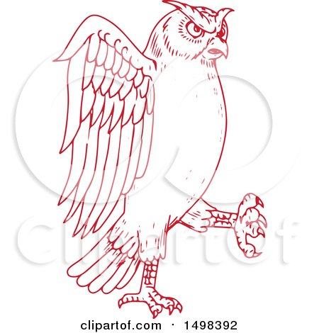 Clipart of a Sketched Red Great Horned Owl Marching - Royalty Free Vector Illustration by patrimonio