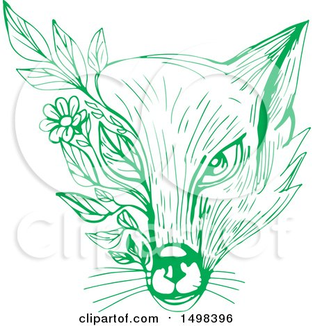 Clipart of a Green Sketched Fox Face Wih Leaves - Royalty Free Vector Illustration by patrimonio