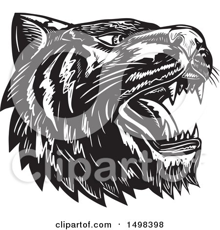 Clipart of a Woodcut Roaring Tiger Mascot Head in Black and White - Royalty Free Vector Illustration by patrimonio