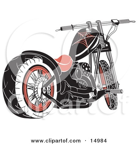 Black Motorcycle With Spider Web Accents Clipart Illustration by Andy Nortnik
