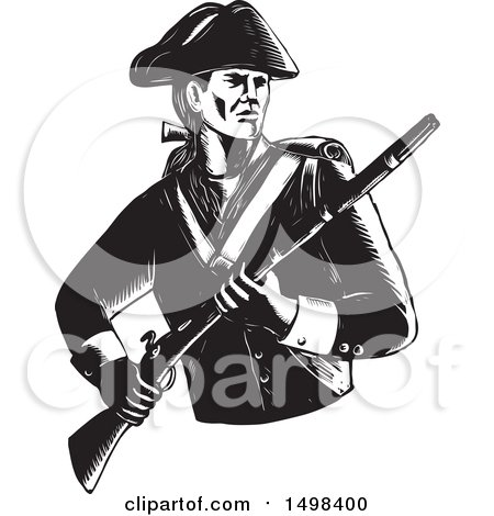 Clipart of a Soldier American Patriot Holding a Musket Rifle - Royalty Free Vector Illustration by patrimonio