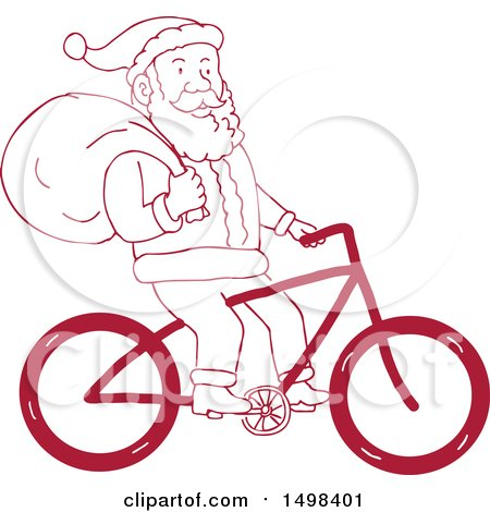 Clipart of a Cartoon Santa Claus Riding a Bicycle with a Christmas Sack - Royalty Free Vector Illustration by patrimonio