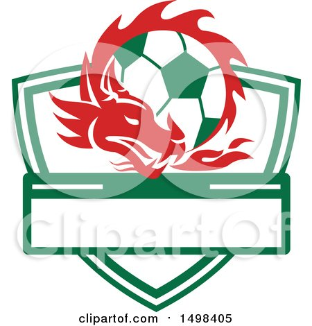 Clipart of a Red Welsh Dragon Around a Soccer Ball over a Shield - Royalty Free Vector Illustration by patrimonio