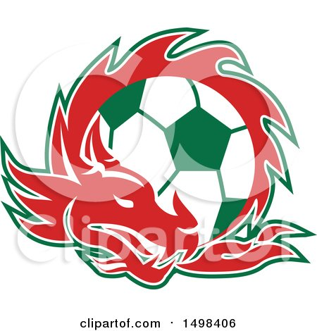Clipart of a Red Welsh Dragon Around a Green and White Soccer Ball - Royalty Free Vector Illustration by patrimonio