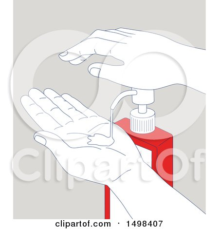 Clipart of a Pair of Hands Using a Sanitizer Dispenser, on Gray - Royalty Free Vector Illustration by patrimonio