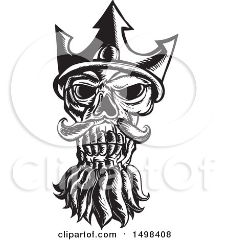 Clipart of a Skull of Neptune in Black and White - Royalty Free Vector Illustration by patrimonio