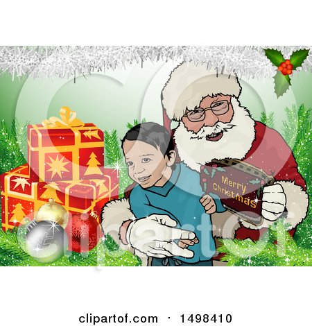 Clipart of a Boy with Santa - Royalty Free Vector Illustration by dero