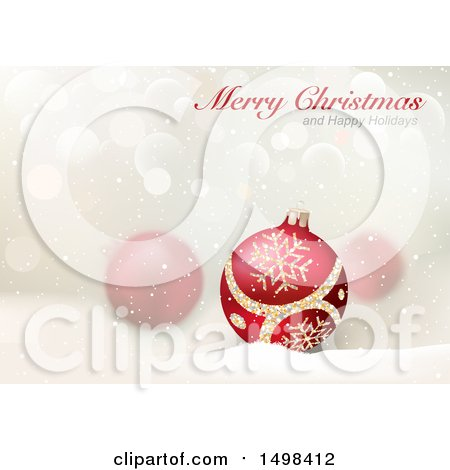 Clipart of a Merry Christmas and Happy Holidays Greeting over Baubles - Royalty Free Vector Illustration by dero