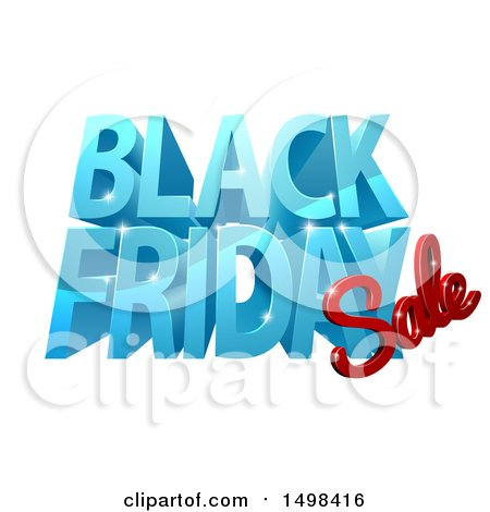 Clipart of a 3d Black Friday Sale Design in Blue and Red - Royalty Free Vector Illustration by AtStockIllustration