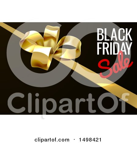 Clipart of a Black Friday Sale Text Design with a Gift Bow on Black - Royalty Free Vector Illustration by AtStockIllustration