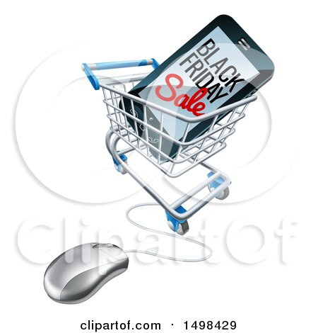 Clipart of a Black Friday Sale Advertisement on a Smart Phone Screen in an Online Shopping Cart - Royalty Free Vector Illustration by AtStockIllustration