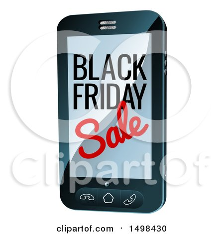 Clipart of a Black Friday Sale Advertisement on a Smart Phone Screen - Royalty Free Vector Illustration by AtStockIllustration