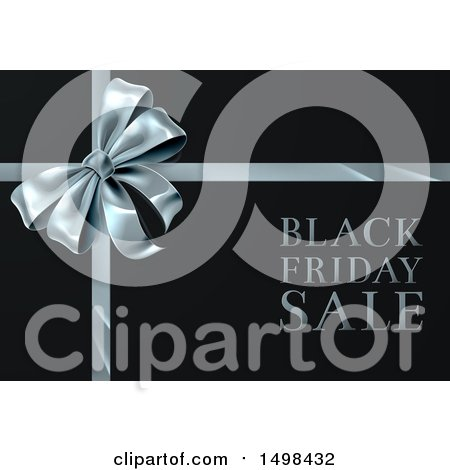 Clipart of a Black Friday Sale Text Design with a Silver Gift Bow - Royalty Free Vector Illustration by AtStockIllustration