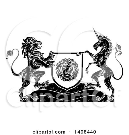 Clipart of a Rampant Lion and Unicorn Flanking a Shield over a Banner, Black and White Woodcut - Royalty Free Vector Illustration by AtStockIllustration