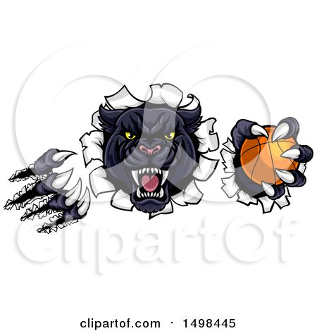 Clipart of a Black Panther Mascot Shredding Through a Wall with a Basketball - Royalty Free Vector Illustration by AtStockIllustration