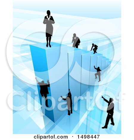 Clipart of a 3d Blue Bar Graph with a Silhouetted Business Woman on Top and and Men Climbing - Royalty Free Vector Illustration by AtStockIllustration