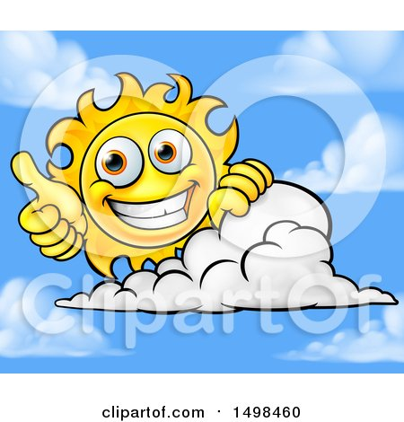 Clipart of a Happy Sun Mascot Giving a Thumb up over a Cloud - Royalty Free Vector Illustration by AtStockIllustration