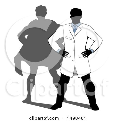 Clipart of a Faceless Male Scientist Standing with Hands on His Hips and a Super Hero Shadow - Royalty Free Vector Illustration by AtStockIllustration