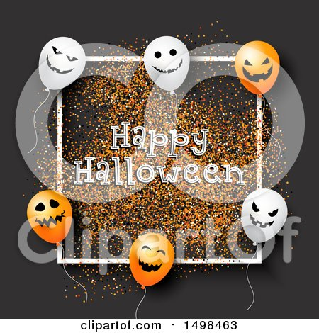 Clipart of a Happy Halloween Greeting with Party Balloons on Gray with Glitter - Royalty Free Vector Illustration by KJ Pargeter