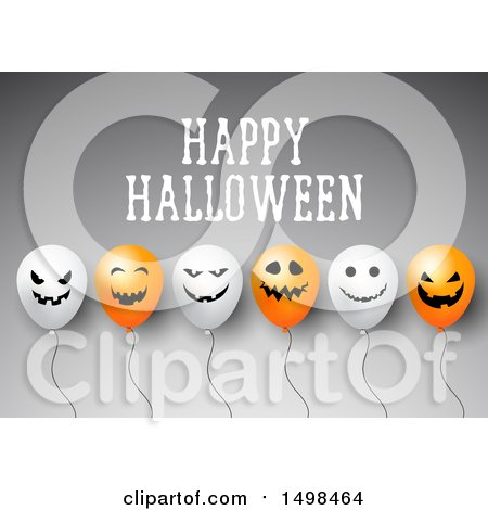 Clipart of a Happy Halloween Greeting with Party Balloons on Gray - Royalty Free Vector Illustration by KJ Pargeter