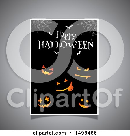 Clipart of a Happy Halloween Greeting Sign with Jackolantern Pumpkins, Bats and Webs - Royalty Free Vector Illustration by KJ Pargeter