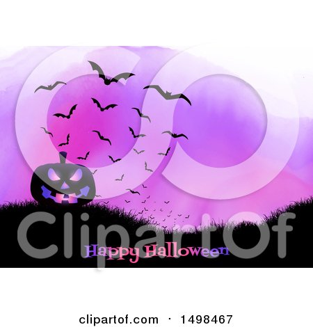 Clipart of a Happy Halloween Greeting with a Jackolantern Pumpkin on a Hill with Bats over Purple Watercolor - Royalty Free Vector Illustration by KJ Pargeter
