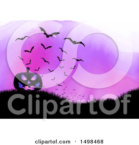 Clipart of a Halloween Jackolantern Pumpkin on a Hill with Bats over Purple Watercolor - Royalty Free Vector Illustration by KJ Pargeter