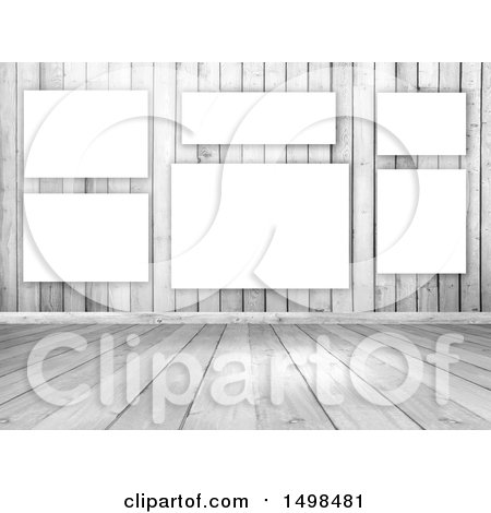Clipart of a 3d White Wood Interior with Blank Canvases on a Wall - Royalty Free Illustration by KJ Pargeter