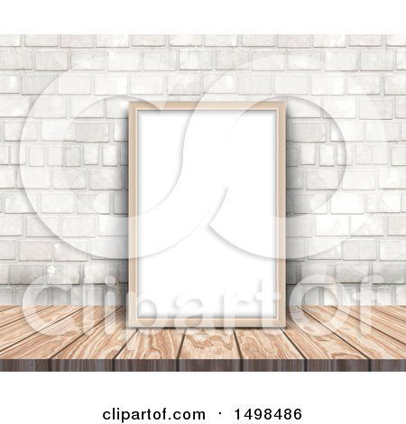 Clipart of a 3d Blank Picture Frame on a Wood Desk, Leaning Against a Stone Wall - Royalty Free Illustration by KJ Pargeter