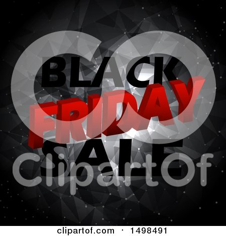 Clipart of a Black Friday Text Design over a Geometric Pattern - Royalty Free Vector Illustration by KJ Pargeter