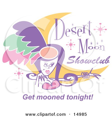 Pretty Showgirl and a Moon on a Desert Moon Showclub Sign  Posters, Art Prints