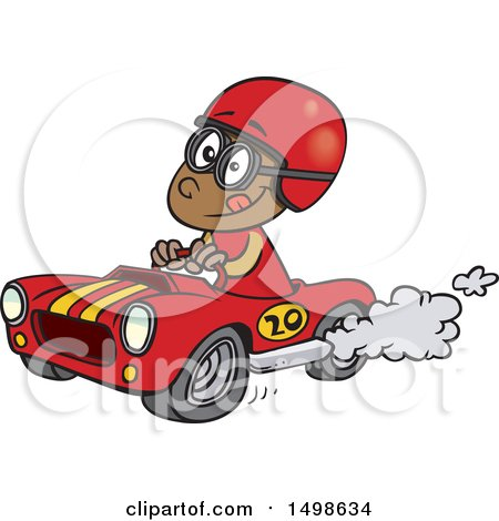 Clipart of a Cartoon African American Race Car Driver Boy - Royalty Free Vector Illustration by toonaday