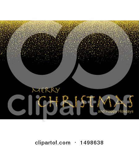 Clipart of a Merry Christmas and Happy Holidays Greeting with Gold Glitter on Black - Royalty Free Vector Illustration by dero