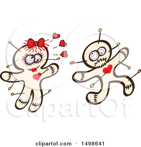 Clipart of a Male Voodoo Doll Running from an Infatuated Female - Royalty Free Vector Illustration by Zooco
