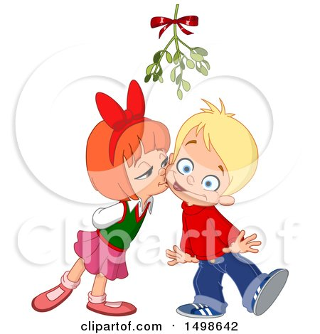Clipart of a Girl Kissing a Boy on the Cheek Uner Christmas Mistletoe - Royalty Free Vector Illustration by yayayoyo