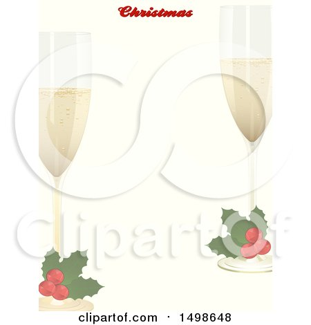 Clipart of a Christmas Border with Text and Holly Garnished Champagne Glasses - Royalty Free Vector Illustration by elaineitalia