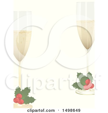 Clipart of a Christmas Border with Holly Garnished Champagne Glasses - Royalty Free Vector Illustration by elaineitalia