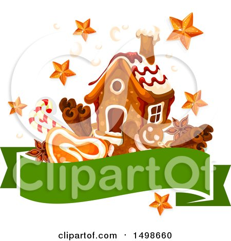Clipart of a Banner with a Christmas Gingerbread House, Stars and Goodies - Royalty Free Vector Illustration by Vector Tradition SM